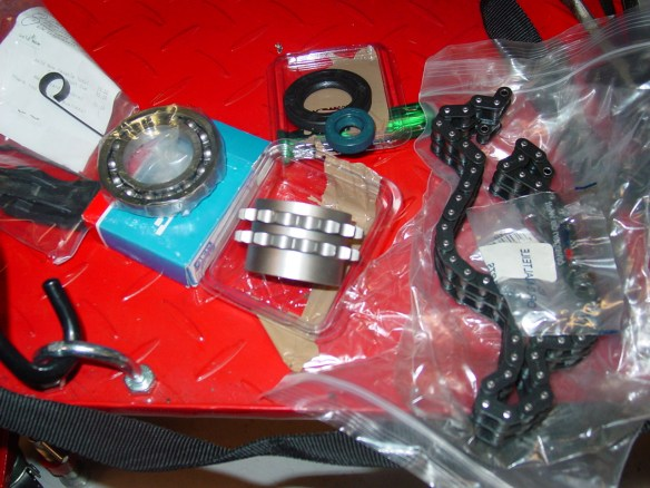 New tensioner spring and she, bearings, seals, sprocket and chain with masterlink!