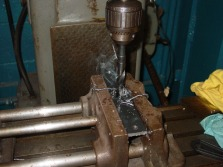 Why use a drill press when you can use a 60 year old milling machine?